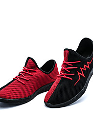 Men's Athletic Shoes Comfort Spring Summer Fall Winter Tulle Walking Shoes Casual Lace-up Flat Heel Black Gray Blue Black/Red Flat