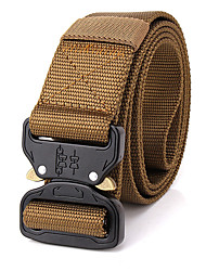 cheap -Men's Alloy Military Waist Belt Casual/Business Solid Pure Color Quick-drying Nylon Canvas Belt Black/Brown/Army Green