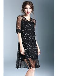 Χαμηλού Κόστους WHALE STUDIO-Γυναικεία Σιφόν Φόρεμα Σκίσιμο Στάμπα Λαιμόκοψη V