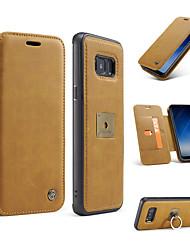 billiga -fodral Till Samsung Galaxy S8 Plus / S8 Plånbok / Korthållare / Ringhållare Fodral Ensfärgat Hårt Äkta Läder för S8 Plus / S8 / S7 edge