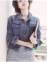 Giacca di jeans Da donna Quotidiano Contemporaneo Primavera,Tinta unita Colletto Poliestere Altro Corto Manica lunga