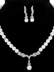 cheap -Women's Drop Earrings Necklace Strands Necklace Rhinestone Imitation Pearl Chrome Single Strand Luxury Unique Design Classic Rhinestone