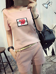 Women's Casual Simple Summer T-shirt Pant Suits,Pattern Round Neck Short Sleeve Micro-elastic