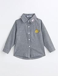 baratos -Para Meninos Camisa Riscas Primavera Outono Algodão Manga Longa Preto