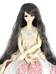 Synthetic Doll Accessories Long Kinky Curly Dark Grey Color for 1/3 1/4 Bjd SD DZ MSD Doll Costume Wig Not for Human Adult