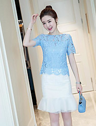 Women's Going out Casual/Daily Simple Summer Blouse Skirt Suits,Solid Lace Round Neck Short Sleeve Inelastic