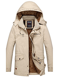 cheap -Men's Daily Vintage Winter Plus Size Regular Jacket,Solid Hooded Cotton Polyester