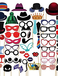 cheap -58Pcs Photo Booth Props Party Masks Hat Mustache Lip photobooth props Wedding Party Decoration Birthday Party
