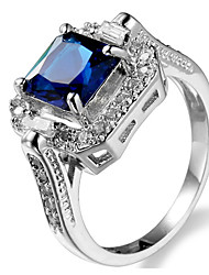 Ring Women's Euramerican Luxury Classic Blue Square Cut Zircon Ring Daily Party  Movie Business Gift Jewelry