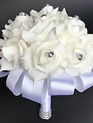 "cheap -Wedding Flowers Round Roses Bouquets Wedding Party/ Evening Satin 9.84""(Approx.25cm)"