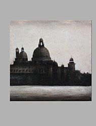 cheap -IARTS® Modern Abstract Oil Painting Venice Waterfront Scenery in Black & Grey Picture with Stretched Frame Handmade For Home Decoration Ready To Hang