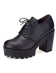 cheap -Women's Shoes Microfiber Spring / Fall Formal Shoes Heels Chunky Heel Round Toe Black