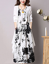 Women's Going out Casual/Daily Street chic Chinoiserie Loose Dress Print Round Neck Maxi Sleeveless Cotton /Linen Blue /Black Summer