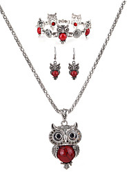 cheap -Women's Drop Earrings Pendant Necklace Chain Necklace Rhinestone Zircon Rhinestone Alloy Owl Personalized Luxury Unique Design Dangling