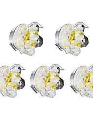 5pcs downlights principali dimmable 1w cristallo bianco caldo ac220-240v