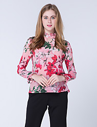 JOJO HANS Women's Office & Career Work Cute Street chic Chinoiserie Spring Fall ShirtPrint High Neck Long Sleeve Others Medium