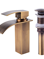 cheap -Centerset Waterfall Ceramic Valve One Hole Antique Copper, Faucet Set