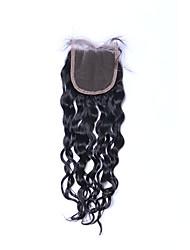 Недорогие -Верхнее качество новая мода класс 8a натуральный черный естественная волна бразильские человеческие волосы закрытие бесплатно / средний /
