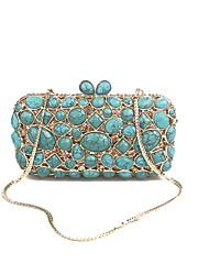 preiswerte -Damen Taschen Glas PU Metall Abendtasche Kristall Metallkette Streifen für Hochzeit Veranstaltung / Fest Formal Ganzjährig Blau