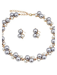 cheap -Women's Jewelry Set Pearl Necklace Bridal Jewelry Sets Imitation Pearl Chrome Round Classic Euramerican Fashion Simple Style Christmas