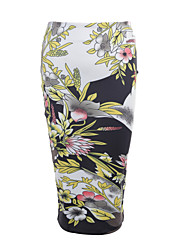cheap -Women's Daily Beach Going out Holiday Midi Skirts,Casual Street chic Bodycon Milk Fiber Print Summer