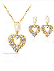 Women's Bridal Jewelry Sets Synthetic Diamond Imitation Pearl Euramerican Fashion Party Event/Party Dailywear Gold Plated Alloy Heart