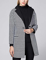 Women's Street Chic & Modern Winter Coat,Grid/Plaid Patterns Round Neck Long Sleeve Long Cotton Blend