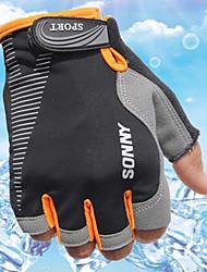 Недорогие -Спортивные перчатки Перчатки для велосипедистов Пригодно для носки Дышащий Прочный Впитывает пот и влагу Защитный Без пальцев Ткань