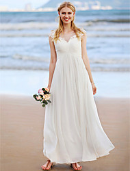 cheap -A-Line Jewel Neck Ankle Length Chiffon Wedding Dress with Appliques Criss Cross Ruching by LAN TING BRIDE®