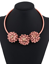 Women's Choker Necklaces Chain Necklaces Statement Necklaces Round Flower Cat Resin Flower Style Flowers Circle Floral Jewelry For Street