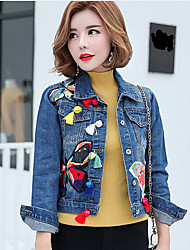 cheap -Women's Daily Casual Spring Denim Jacket,Print Shirt Collar Long Sleeve Short Cotton