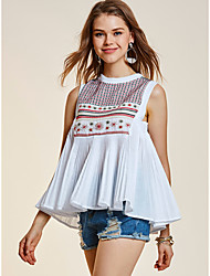 SHE'SWomen's Daily Casual Vintage Street chic Summer T-shirtEmbroidery Round Neck Sleeveless Cotton Polyester Thin