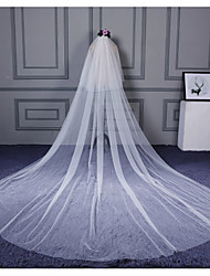 cheap -Two-tier Cut Edge Wedding Veil Cathedral Veils With Ruffles Tulle