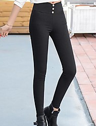 Women's High Waist strenchy Slim Pants,Simple Slim Solid