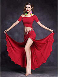 Belly Dance Outfits Women's Performance Modal Split Front 2 Pieces Short Sleeve Natural Top / Skirts