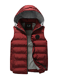 cheap -Men's Regular Padded Coat,Casual Daily Solid-Cotton Cotton Sleeveless Hooded