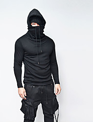 cheap -Men's Daily Going out Casual Hoodie Solid Hooded Micro-elastic Cotton Polyester Long Sleeve Winter