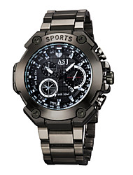 ASJ Men's Sport Watch Necklace Watch Water Resistant / Water Proof Large Dial Quartz Alloy Band Word Watch Casual Black