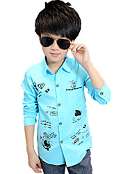cheap -Boys' Floral Shirt,Cotton Fall All Seasons Long Sleeve Floral Blue White