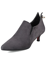 cheap -Women's Heels Comfort Leatherette Spring Summer Casual Dress Walking Comfort Buckle Kitten Heel Ruby Gray Black 1in-1 3/4in