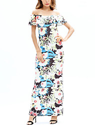 cheap -Women's Beach Boho Swing Dress - Floral, Chiffon Maxi Boat Neck