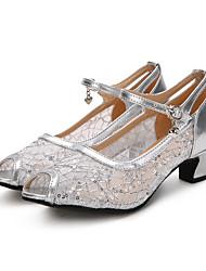 Damen Modern Spitze Glitzer Paillette Absätze Sneakers AufführungPailletten Rüschen Verschlussschnalle Eingenähte Spitze Gerafft Glitter