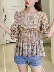 Women's Going out Casual/Daily Boho Summer Fall Blouse,Floral Round Neck Half Sleeve Polyester Medium