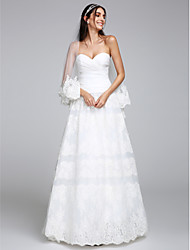 A-Line Sweetheart Floor Length Organza Tulle Wedding Dress with Lace Criss-Cross by LAN TING BRIDE®