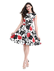 cheap -Women's Plus Size Work A Line Swing Dress - Floral, Vintage Style Print Patchwork Printing Lace up High Rise