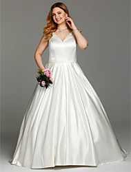 cheap -Ball Gown V-neck Chapel Train Satin Plus Size Wedding Dress with Sashes/ Ribbons Ruching by LAN TING BRIDE®