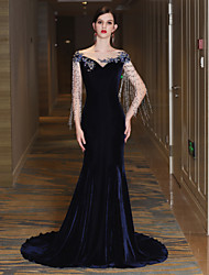 cheap -Mermaid / Trumpet Bateau Neck Court Train Satin Tulle Velvet Formal Evening Dress with Beading Crystal Detailing Tassel(s) Bandage
