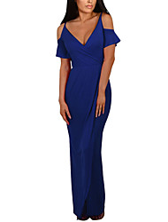 Women's Beach Casual/Daily Club Sexy Simple Street chic Sheath DressSolid Simple Split Backless Off Shoulder V Neck Maxi Short Sleeve Spring Summer