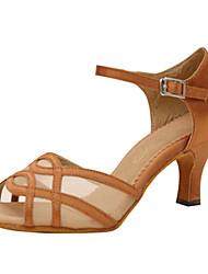 "Women's Latin Silk Sandals Performance Criss-Cross Stiletto Heel Almond 2"" - 2 3/4"" 3"" - 3 3/4"" Customizable"