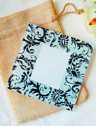 1pcs/bag Black Damask Glass Photo Coaster Beter Gifts® Life Style